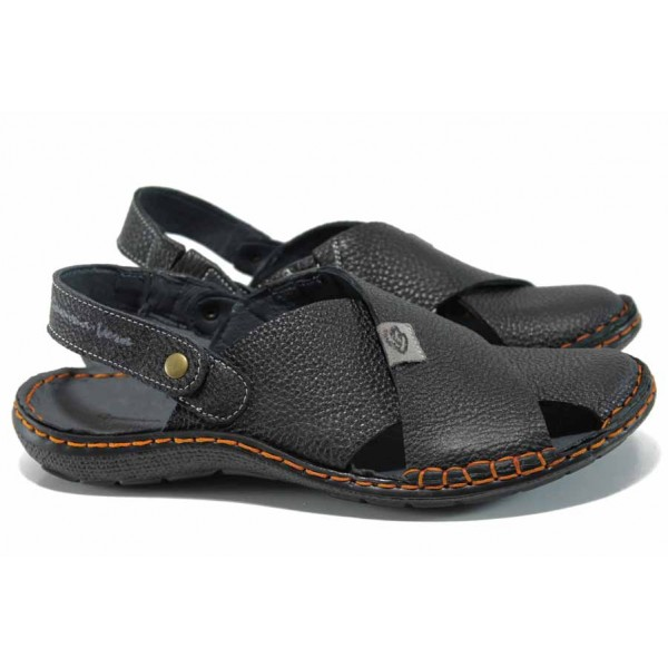 Български ортопедични чехли-сандали от естествена кожа МЙ 71173 черен   Мъжки чехли и сандали   MES.BG
