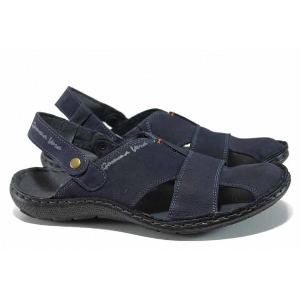Български ортопедични чехли-сандали от естествен набук МЙ 71190 син | Мъжки чехли и сандали | MES.BG