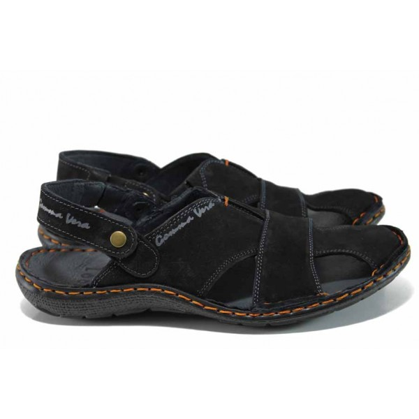 Български ортопедични чехли-сандали от естествен набук МЙ 71190 черен | Мъжки сандали | MES.BG