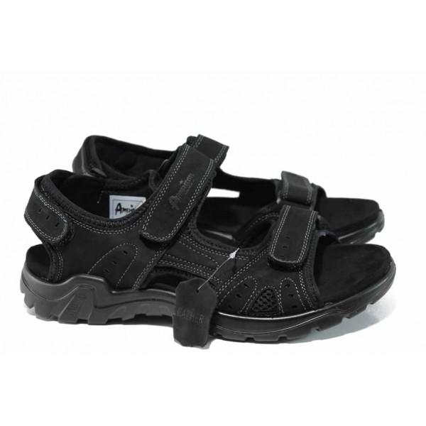 Анатомични мъжки сандали от естествен набук АБ 03 черен | Мъжки чехли и сандали | MES.BG