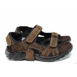 Анатомични мъжки сандали от естествен набук АБ 03 кафяв | Мъжки чехли и сандали | MES.BG