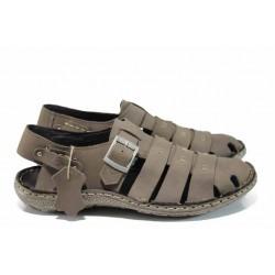 Български ортопедични мъжки сандали от естествен набук МЙ 71175 таупе | Мъжки чехли и сандали | MES.BG