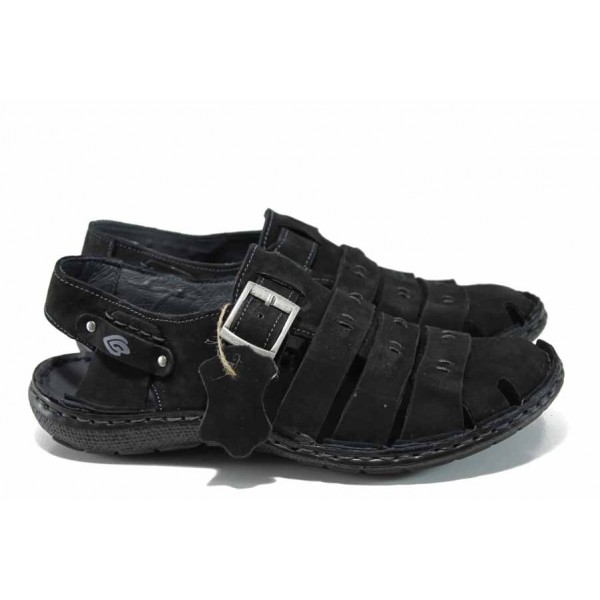 Български ортопедични мъжки сандали от естествен набук МЙ 71175 черен | Мъжки чехли и сандали | MES.BG