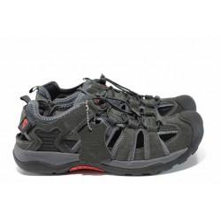 Анатомични мъжки обувки от естествена кожа АБ 5980 сив | Мъжки ежедневни обувки | MES.BG