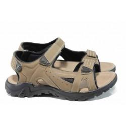 Анатомични мъжки сандали АБ 80152 бежов | Мъжки чехли и сандали | MES.BG