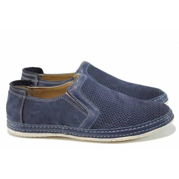 Мъжки ортопедични обувки от естествен набук МИ 38 син | Мъжки ежедневни обувки | MES.BG