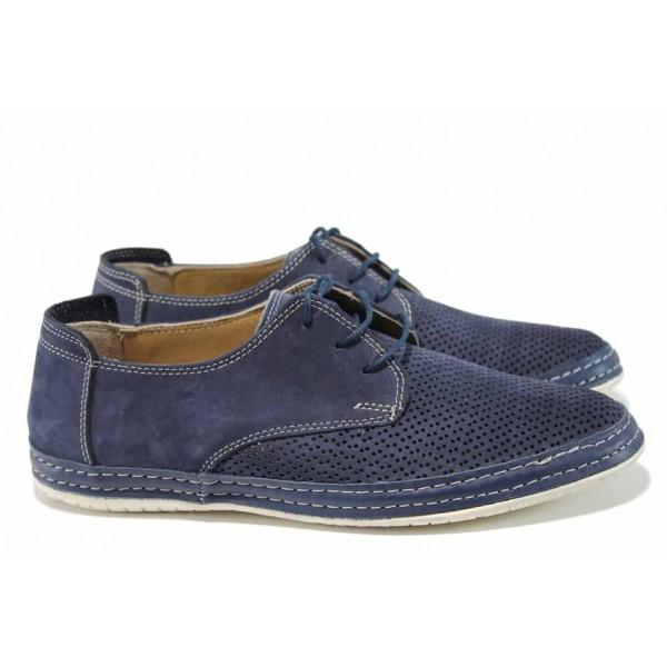 Мъжки ортопедични обувки от естествен набук МИ 40-2018 син | Мъжки ежедневни обувки | MES.BG