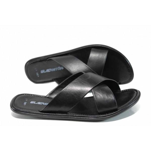 Мъжки чехли от естествена кожа МИ 400 черен | Мъжки чехли и сандали | MES.BG
