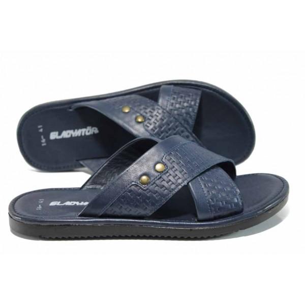 Мъжки чехли от естествена кожа на комфортно ходило МИ G-14 син | Мъжки чехли и сандали | MES.BG