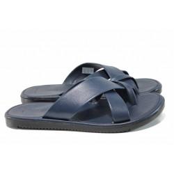 Мъжки чехли от естествена кожа с лента между пръстите МИ 399 син | Мъжки чехли и сандали | MES.BG