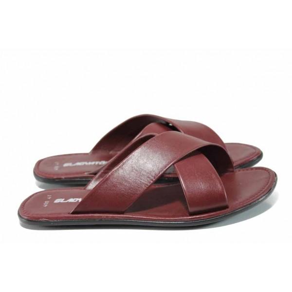 Мъжки чехли от естествена кожа МИ 400 бордо | Мъжки чехли и сандали | MES.BG