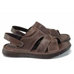 Анатомични мъжки чехли-сандали от естествена кожа МИ 1765 кафяв | Мъжки чехли и сандали | MES.BG