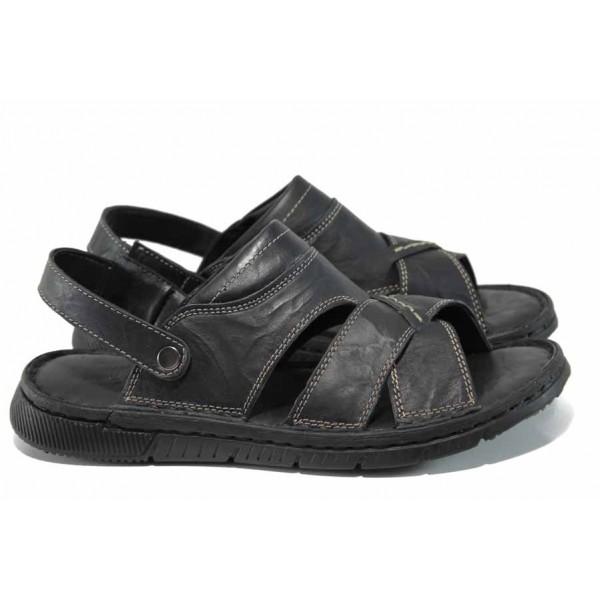 Анатомични мъжки чехли-сандали от естествена кожа МИ 1765 черен | Мъжки чехли и сандали | MES.BG