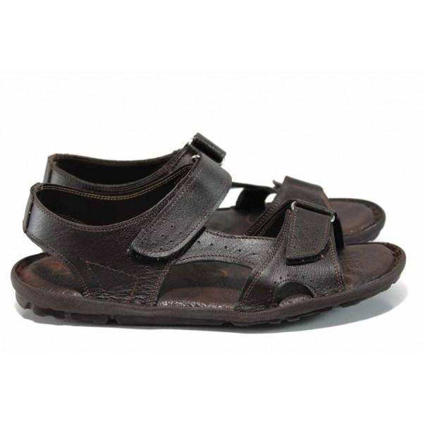Мъжки сандали на комфортно ходило МИ 088 кафяв | Мъжки чехли и сандали | MES.BG