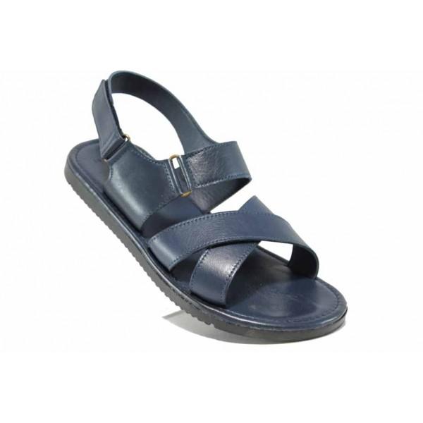 Мъжки сандали от естествена кожа МИ 831 син | Мъжки чехли и сандали | MES.BG