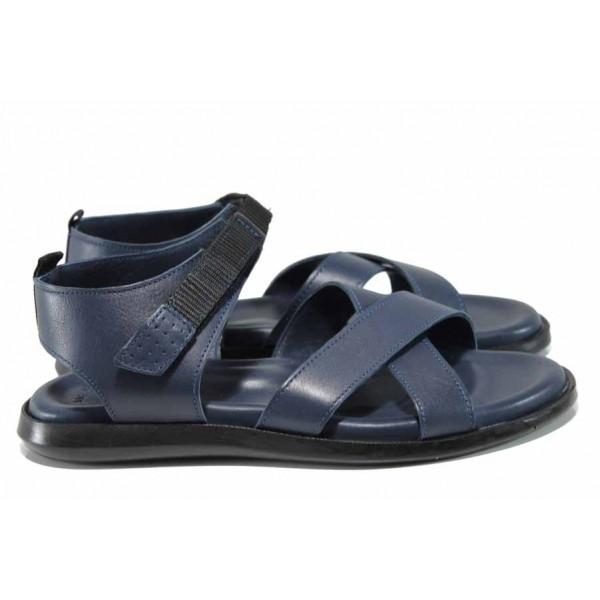 Анатомични мъжки сандали от естествена кожа МИ 594 син | Мъжки чехли и сандали | MES.BG