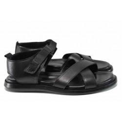 Анатомични мъжки сандали от естествена кожа МИ 594 черен | Мъжки чехли и сандали | MES.BG