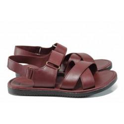 Мъжки сандали от естествена кожа МИ 831 бордо | Мъжки чехли и сандали | MES.BG