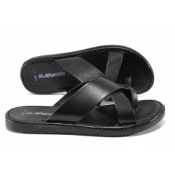 Мъжки чехли от естествена кожа с лента между пръстите МИ 399 черен | Мъжки чехли и сандали | MES.BG