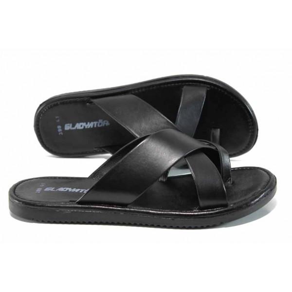 Мъжки чехли от естествена кожа с лента между пръстите МИ 399 черен   Мъжки чехли и сандали   MES.BG
