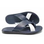 Мъжки чехли от естествена кожа с лента между пръстите МИ 399 син-бял | Мъжки чехли и сандали | MES.BG