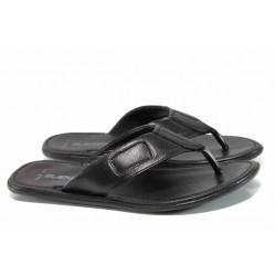 Анатомични мъжки чехли от естествена кожа МИ 642-100 черен | Мъжки чехли и сандали | MES.BG