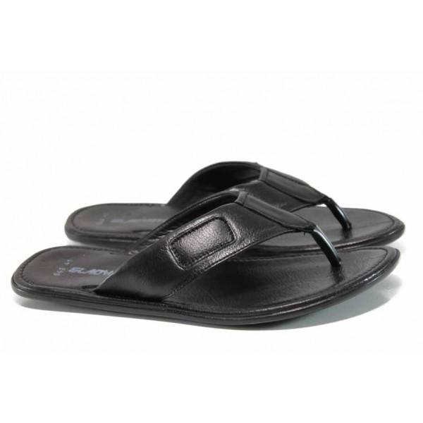 Анатомични мъжки чехли от естествена кожа МИ 642-100 черен   Мъжки чехли и сандали   MES.BG