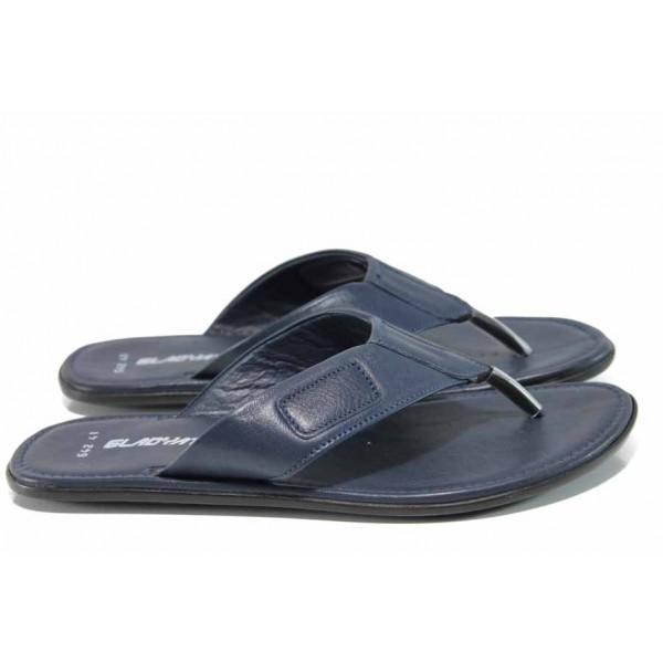 Анатомични мъжки чехли от естествена кожа МИ 642-100 син | Мъжки чехли и сандали | MES.BG