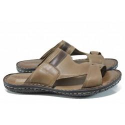Анатомични мъжки чехли от естествена кожа МИ 106-4391 кафяв гигант | Мъжки чехли и сандали | MES.BG