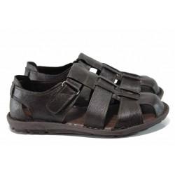 Анатомични мъжки сандали МИ 030 кафяв | Мъжки чехли и сандали | MES.BG