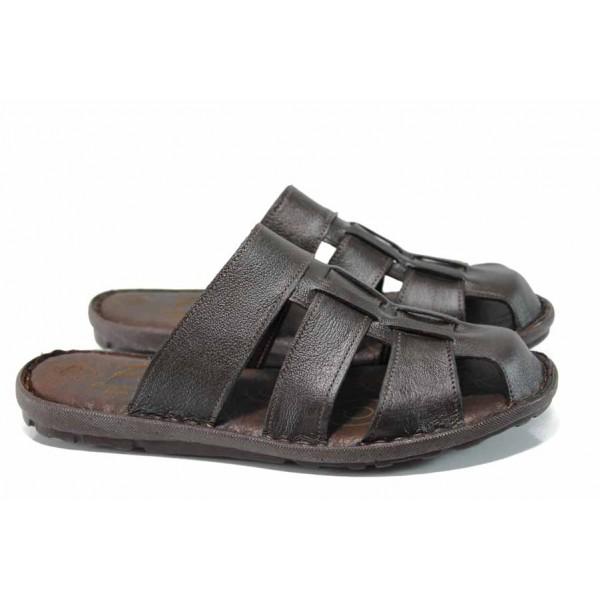 Анатомични мъжки чехли МИ 080 кафяв | Мъжки чехли и сандали | MES.BG