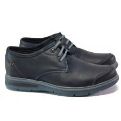 Анатомични български обувки от естествена кожа МЙ 83269 син | Мъжки ежедневни обувки | MES.BG