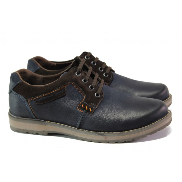 Анатомични мъжки обувки от естествена кожа МЙ 83325А син | Мъжки ежедневни обувки | MES.BG