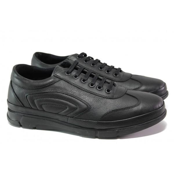 Анатомични мъжки спортни обувки от естествена кожа МИ 504 черен   Мъжки ежедневни обувки   MES.BG