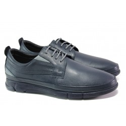 Анатомични мъжки обувки от естествена кожа ФЯ 276 син | Мъжки ежедневни обувки | MES.BG