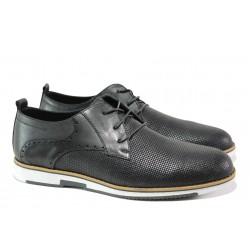 Мъжки обувки от естествена кожа КО 3202 черен | Мъжки ежедневни обувки | MES.BG
