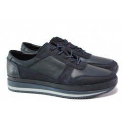 Мъжки ортопедични обувки от естествена кожа ФЯ 231 син | Мъжки ежедневни обувки | MES.BG