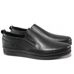 Анатомични мъжки обувки от естествена кожа ТЯ 3045 черен | Мъжки ежедневни обувки | MES.BG