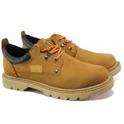Анатомични мъжки обувки от естествен набук МИ 034 жълт-2018 | Мъжки ежедневни обувки | MES.BG