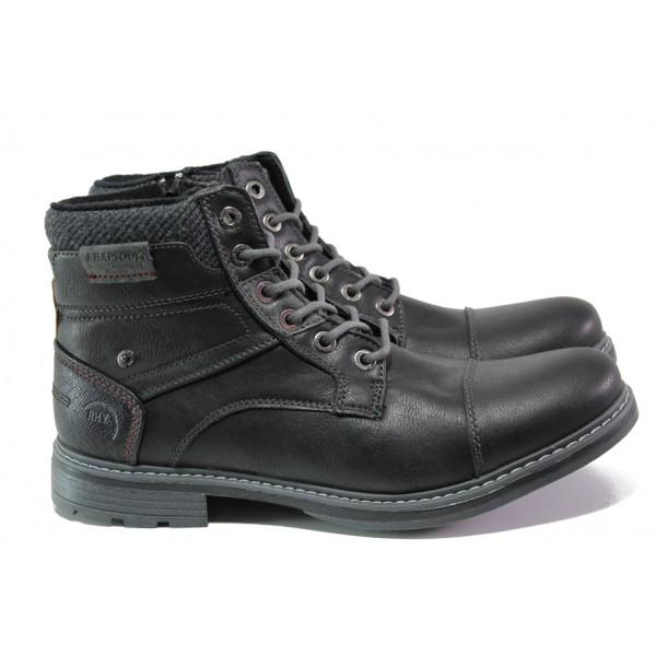Комфортни мъжки боти с топъл хастар АБ 709154 черен | Мъжки боти | MES.BG