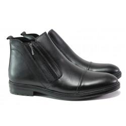 Комфортни мъжки боти от естествена кожа МИ 02 черен | Мъжки боти с топъл хастар | MES.BG