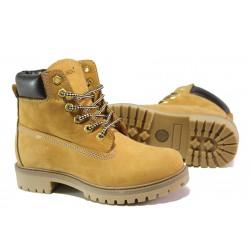 Юношески боти от естествена кожа МИ 016 жълт | Дамски боти с топъл хастар | MES.BG