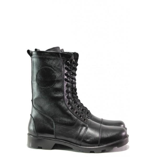Комфортни боти от естествена кожа МИ 743 черен | Боти с топъл хастар | MES.BG