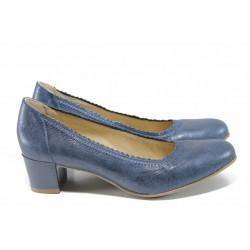 Анатомични дамски обувки от естествена кожа Caprice 9-22310-20 т.син металик | Немски обувки на ток | MES.BG