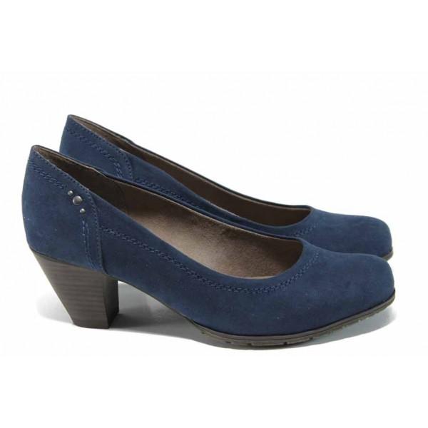 Дамски обувки на ток Jana 8-22465-20Н син | Немски обувки на среден ток | MES.BG