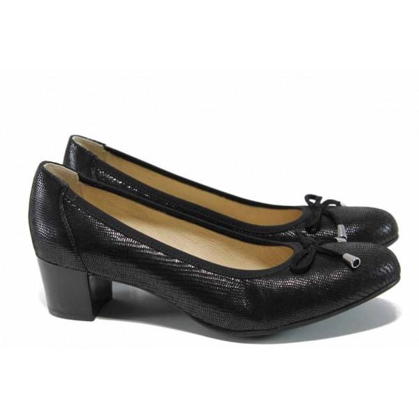Анатомични дамски обувки от естествена кожа Caprice 9-22308-20 черен | Немски обувки на ток | MES.BG