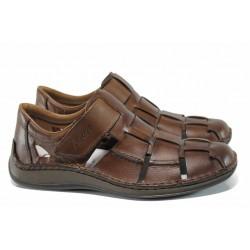 Немски сандали от естествена кожа Rieker 05273-25 кафяв ANTISTRESS | Немски мъжки обувки | MES.BG