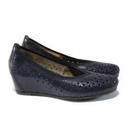 Дамски обувки от естествена кожа Rieker L4755-14 син ANTISTRESS | Немски обувки на платформа | MES.BG