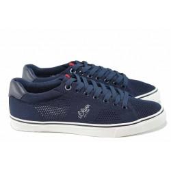 Мъжки спортни обувки с мемори пяна S.Oliver 5-13638-20 син | Мъжки немски обувки с перфорация | MES.BG