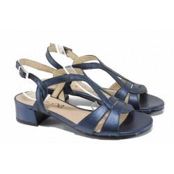 Дамски сандали от естествена кожа Caprice 9-28201-20G син | Немски сандали на ток | MES.BG
